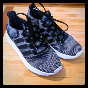 ADIDAS- Black & White Cloud Foam Mesh Sneakers